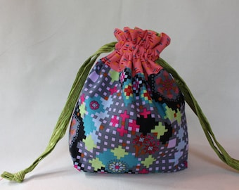 Pixelated Flower Project Bag