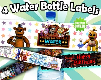 Five Nights at Freddy's FNAF Printable Water Bottle Labels Instant download Printable