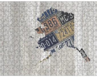 Alaska Jigsaw Puzzle   Vintage License Plate Art   State Outline   Fun Puzzle