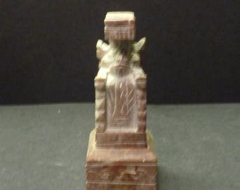 Chinese Seal/Stamp-Soapstone - Man sitting on throne in robes - 2 piece w/ pedestal