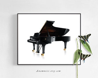 GRAND PIANO - Instand Digital Download - graphic image for the music enthusiast - printable piano for prints, totes, pillows, cards etc.