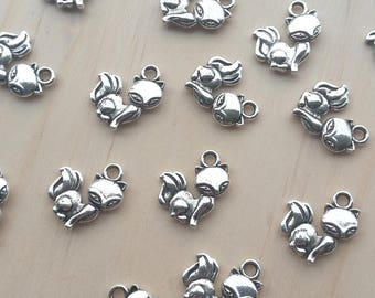 Fox Alloy Charms, Set of 5 pcs\10 pcs available, Antique Silver
