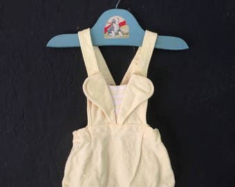 Vintage Baby Clothes 50s 60s Yellow Romper Sunsuit Size 6-9 Months