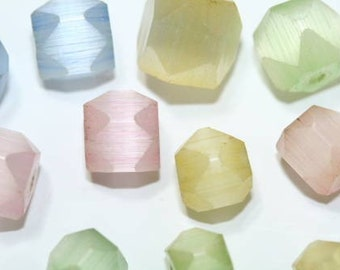 21 Frosty Glass Pastels Vintage Faceted Beads, frost beads, vintage beads