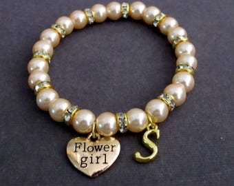 Gold Flower Girl Bracelet ,Personalized Flower Girl Jewelry,Flower Girl Gift, Wedding Party gift, Girls Jewelry, Free Shipping In USA
