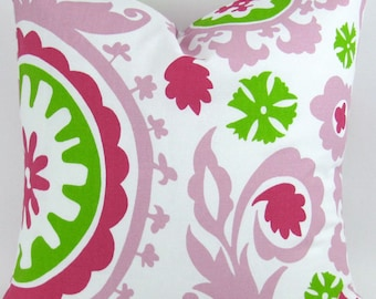 Suzani Pillow Cover -MANY SIZES- hot pink candy magenta lime green white floral decorative throw euro sham cushion baby pink