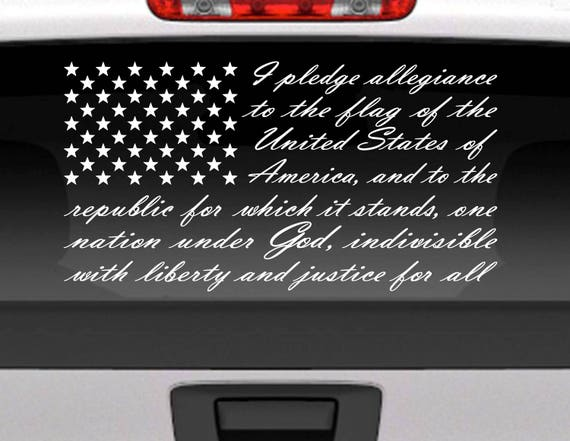 Pledge of allegiance american flag vinyl window decal for car