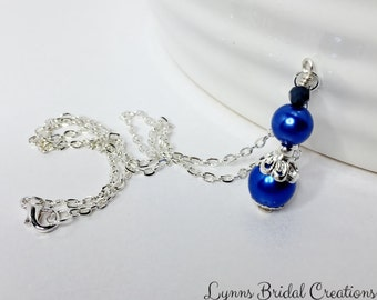 Blue Bridesmaid Pendant Necklace Royal Blue Necklace Wedding Jewelry Bridesmaid Gift Mother of the Bride Gift Crystal Necklace Blue Pendant