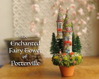 The Enchanted Potted Fairy Towers -Potterville Woodland Fairy Scene -Miniature Terracotta Pot -Pine Trees,Stone Wall, Wildflowers, Mushrooms