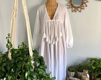 Indian White Gauze Cotton Bohemian Hippie Gypsy Festival Tunic Maxi Dress M