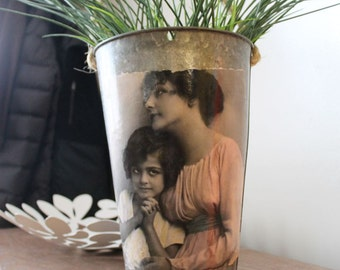 SALE! Decorative Sap Bucket - Vintage Mother Daughter Photo  Print - Woman, girl