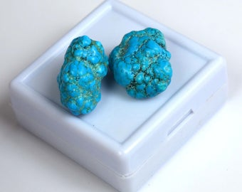 46.40 Ct. Natural Arizona Mine Kingman Turquoise Authentic Gemstone Rough Pair