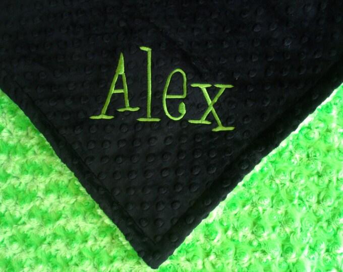 Lime Green and Black Minky Baby Blanket, Kiwi Rose Swirl Baby Blanket in three sizes