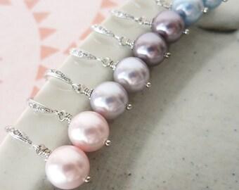 Pearl - Silver Swarovski Pearl Drop Earrings, Cubic zirconia earrings, gifts for her, Bridesmaid Earrings, Bridal Jewelry, white weddings