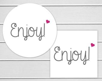 Enjoy Stickers, Wedding Stickers, Personalized Wedding Stickers, Enjoy Labels in Your Wedding Colors (#139)