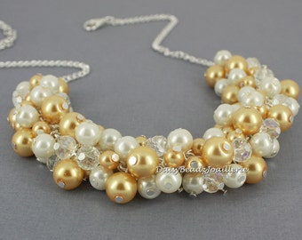 Bridesmaid Gift Gold and Ivory Cluster Necklace Chunky Necklace Bridesmaid Jewelry Gift for Her Wedding Jewelry Maid of Honor Gift