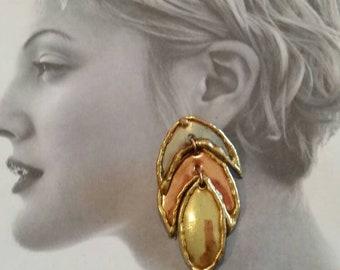 Vintage Earrings, Mixed Metal Earrings, Brass, copper and metal, 80s earrings