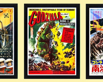 Godzilla Poster Set of 3 Movie Posters Framed A+ Quality