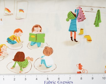 "Windham Fabrics ""KINDER"" by Heather Ross ~ KINDERGARTEN ~ White ~ 43480-3~ By The Half Yard ~"