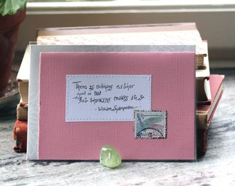 There is nothing either good or bad but thinking makes it so -Shakespeare Pink card with handwritten quote and dragonfly postal stamp