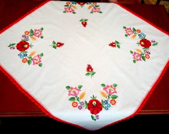 """Hungarian 35"""" tablecloth with hand embroidered Kalocsa motives."""