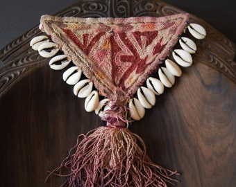 Old Indian Embroidery Amulet with Cowrie Shells