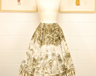 1940's/50's Mexican Hand Painted Wrap Circle Skirt / Mexican Princess / Swing Skirt / Pin Up / Rare Collectable Retro