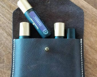 Leather essential oil case - essential oil bag - essential oil pouch - essential oil tote - handmade leather in the U.S.A.