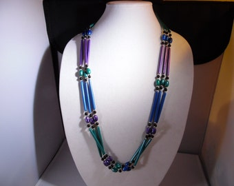 3  Multi Strand Plastic Necklace with  TealGreen ,Black ,Blue, Purple Plastic Different Size Beads And Silver Tone Beads-32''Long Necklace