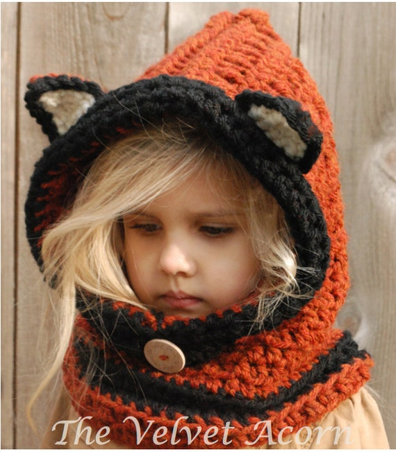 Crochet Pattern Flint Fox Cowl 1218 Months Toddler Child Adult Sizes