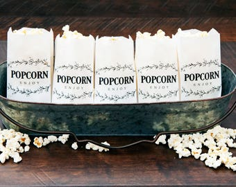 Popcorn Bags - Country Branch Design -  Wedding, Birthday, Anniversary, Baby Shower, Party Favor - 5 Tall White bags in each Pack