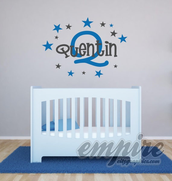 Boys Stars Custom Name Decal, Personalized Name and Initial Nursery Wall Decal, Modern Name Decal, Monogram Decals, Stars Wall decals