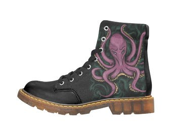 Boots Octopus Octopus shoes octopus - Octopus print - Octopus art octopus digital painting - free shipping ankle boots pattern