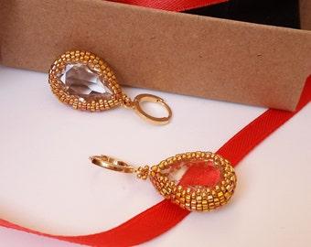 earrings with Swarovski crystals beaded earrings handmade jewelry handmade earrings gold bead earrings crystal earrings