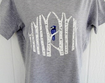 Blue Jay in Birch Forest Ladies T-Shirt