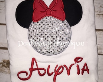 Epcot sparkle Minnie Mouse shirt with name
