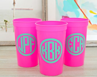 Monogrammed Cups, Bachelorette Party Cups