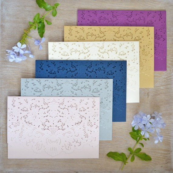 DIY Laser Cut Pocket Invitations - More Colors Available - Laser Cut Invites for Wedding, Sweet Sixteen, Quinceanera, Birthday