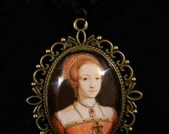 Young Queen Elizabeth I Organza Ribbon Cameo Pendant Choker Necklace