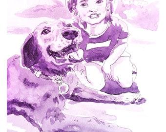 Watercolor Portrait Commission (Monochrome)