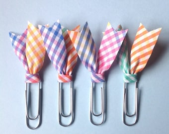 Rainbow gigham planner acessory, Plaid planner clips, Bias tape bible clip, set of 4 paper clips, book page marker, fabric teacher gift pc22