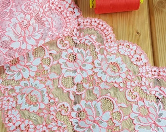 20 cm wide Stretch lace in White and orange - sold by the meter