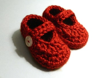 Red Baby Shoes, Crochet Mary Janes, Soft Baby Booties, Baby Shower Gift