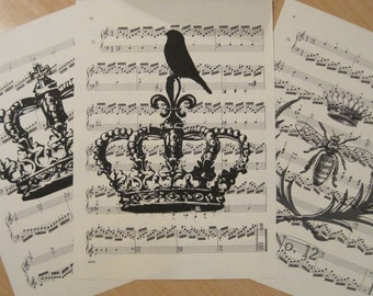 french crowns shabby chic vintage sheet music design 4 lot of 3