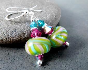 Lime Green Pink Teal Glass Bead Dangle Earrings, Colorful Boro Lampwork Earrings, Boho Chic Art Glass Jewelry, Sterling Silver Jewelry