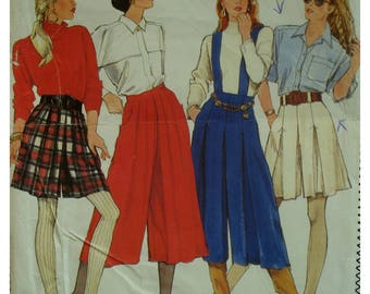 Pleated Culotte Pattern, Side Pockets, Short/ Long, Waistband, Sewn/ Unpressed Pleats, Straps, Simplicity 9787 UNCUT Size 6 8 10 12 14
