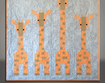 Safari Baby Quilt Giraffes on Gray Handmade 39x39 Modern Animal Pieced Quilt Wall Hanging #633