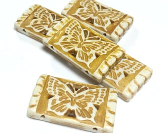 Double-hole Butterfly Beads, Acrylic Butterfly Bead, Mustard yellow Butterfly Bead