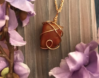 Gold wire wrapped stone necklace