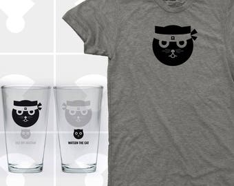 Cat, T Shirt & Pint Glass Set, Men's Cat Shirt, Cat Pint Glass, Ninja Kitty, Gift for Cat Lover, Kung Fu Watson the Cat
